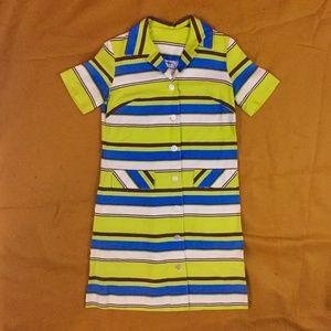 VINTAGE 50s Striped Button Down Shift Dress